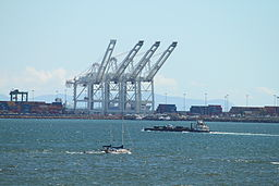 Gantry Cranes at POLB<br>Catalina Island in the background