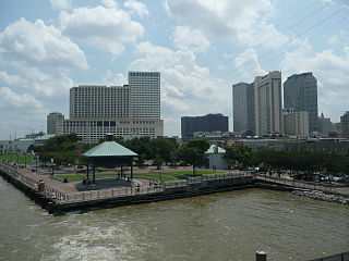 Woldenberg Park and downtown New Orleans